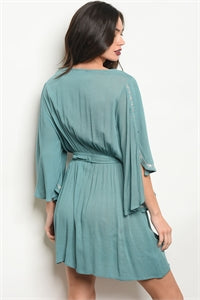 Embroidered Tunic Dress Teal