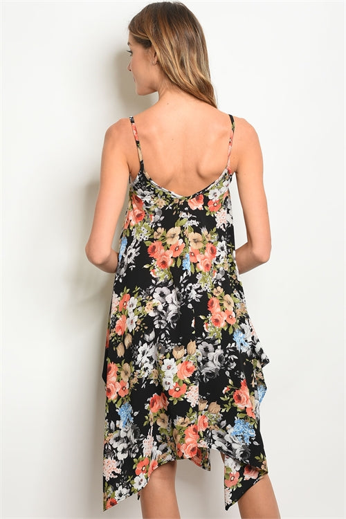 Floral Scarf Swing Dress