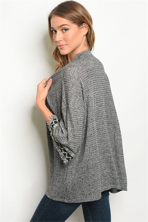 Embellished Charcoal Open Cardigan