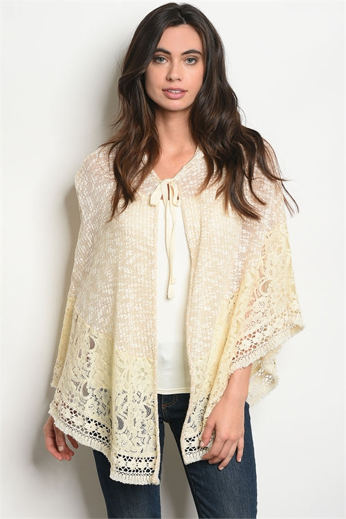 Cream Laced Hooded Poncho Cover-up