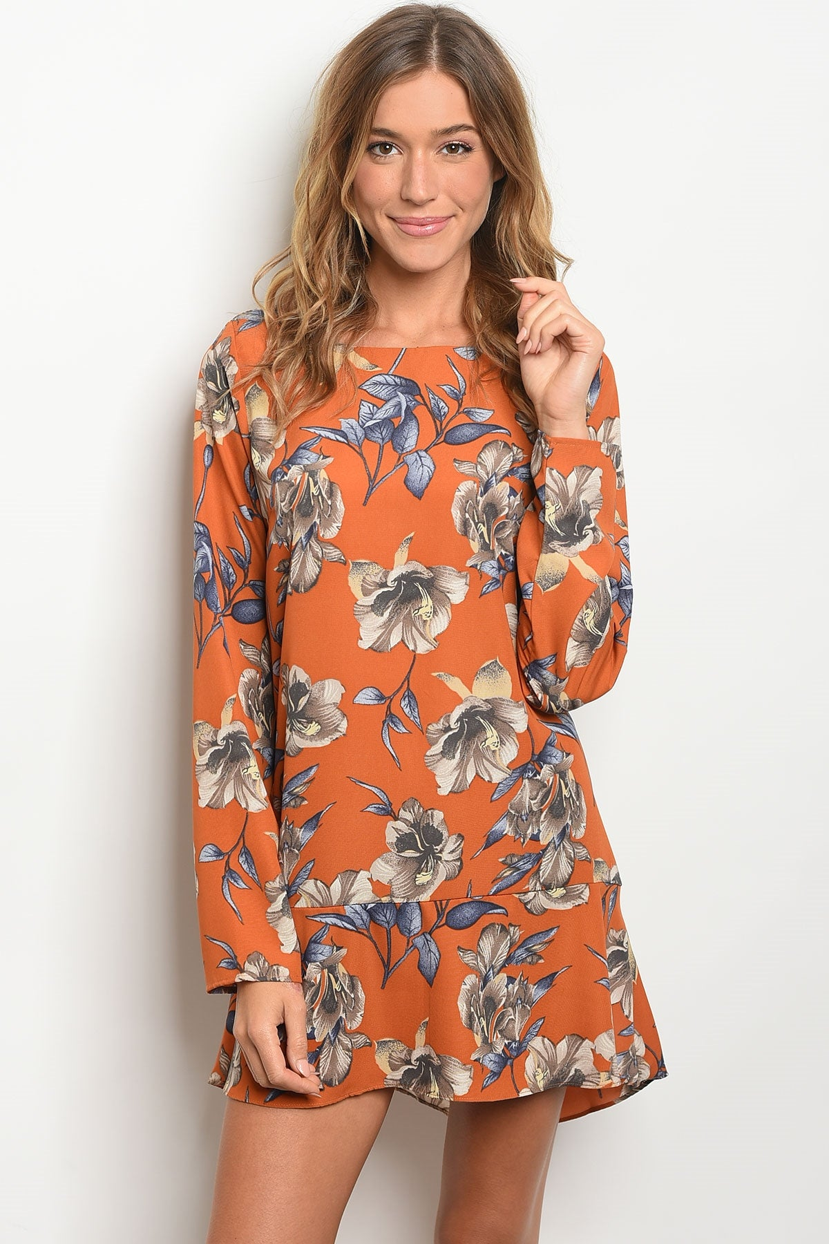 Earth Tone Floral Flutter Dress Tunic