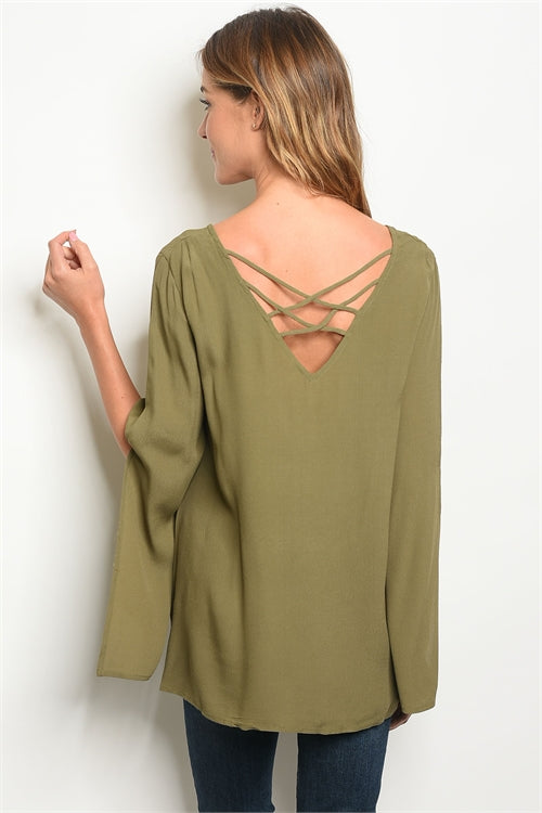 Olive Slit Sleeved Blouse