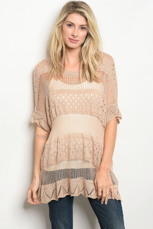 Taupe Knit Ruffle Sweater
