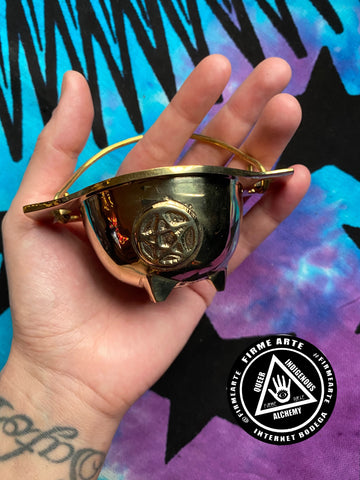 Cauldron | Solid Brass Pentacle | No Lid