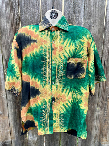 Vintage | tie dyed guayabera With gold embroidery