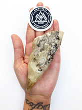 Stellar Beam Golden Calcite Point w/ Pyrite