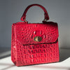 Red faux leather mini square handbag/purse with crocodile texture