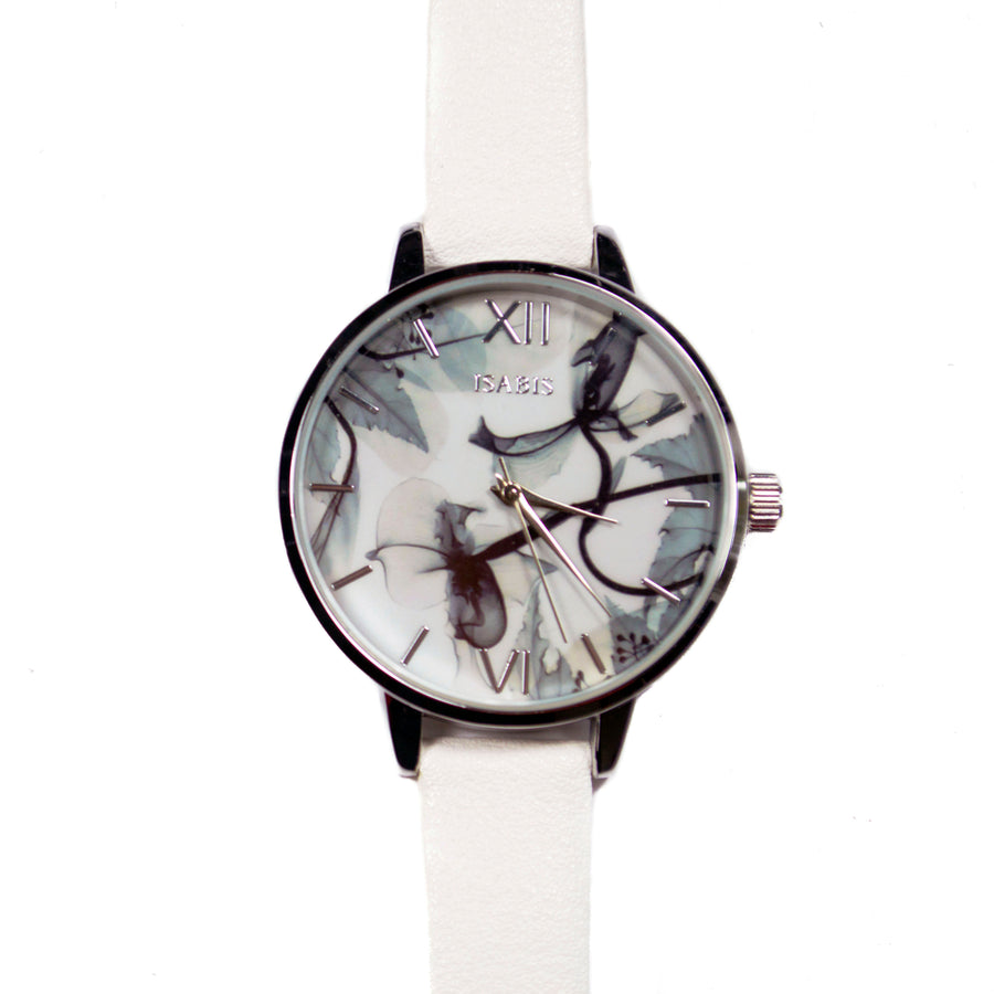 Quality womens fashion watch made with a white vegan leather strap and grey and white interface