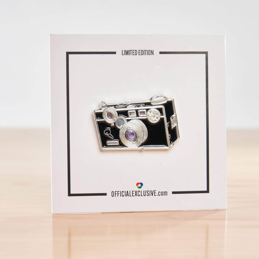 Brick Camera Pin with Purple Lens