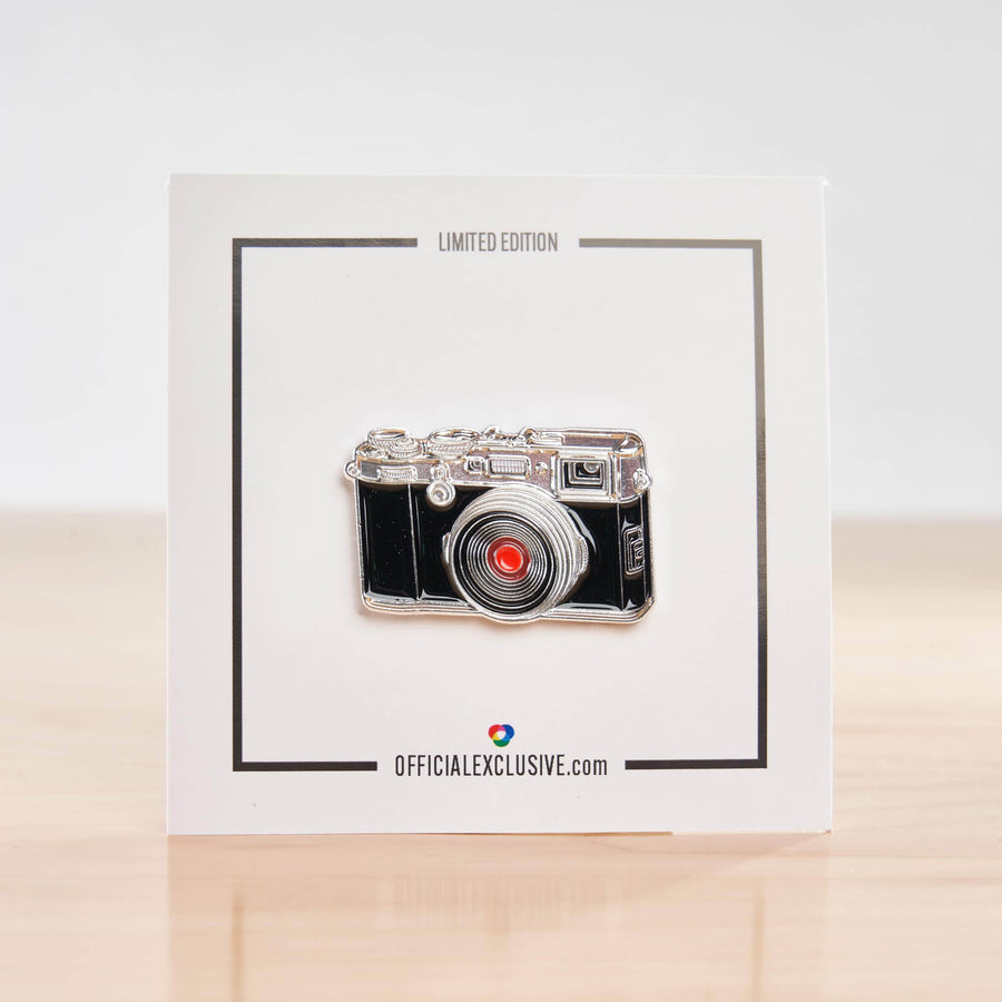 X 100 Digital Rangefinder Camera Pin #2 Chrome with Red Lens