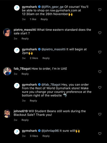 Gymshark Social Media Page getting 6000 comments on Instagram for their activewear sportswear black friday sale