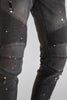 Distressed Moto Jeans with Neon Paint Splatter (Dark Medium Gray)