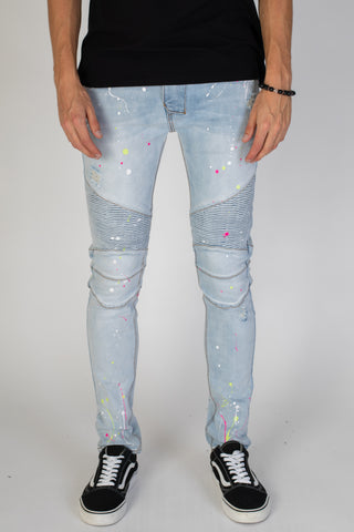 Distressed Moto Jeans with Neon Paint Splatter (Light Blue)