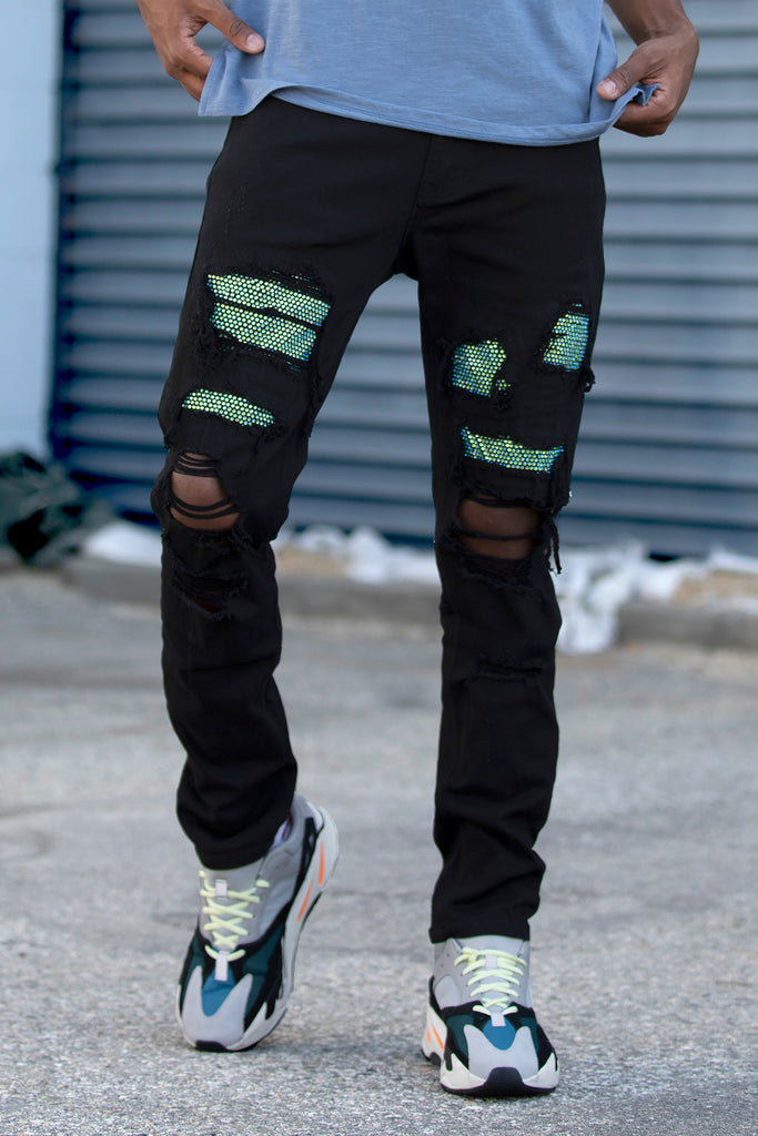 Multi Rhinestone Patched Twill Pants (Black/Green)