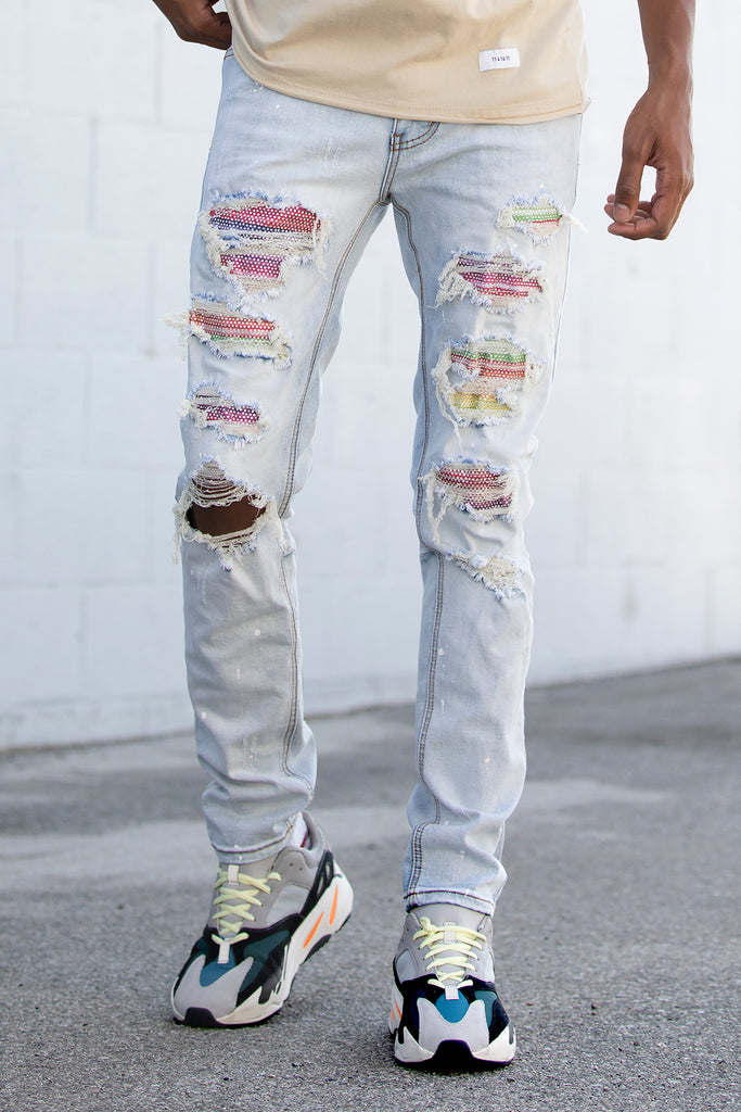 Multi-Color Rhinestone Patched Jeans (Blue)