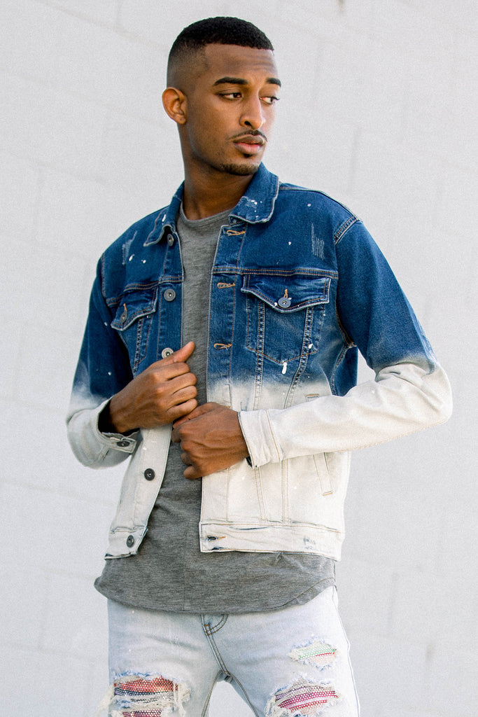 1/2 Bleached Denim Jacket (Blue)