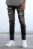 Multi-Color Rhinestone Patched Jeans (Black)