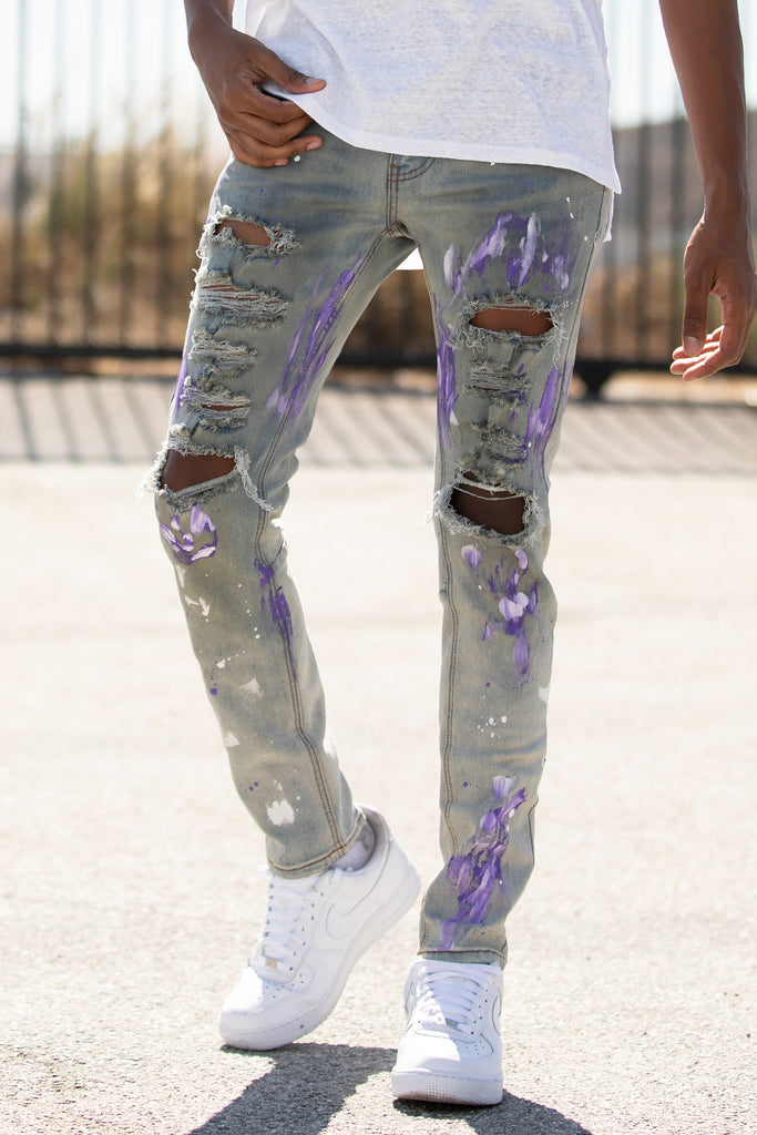 Ripped Jeans w/ Paint (Blue)