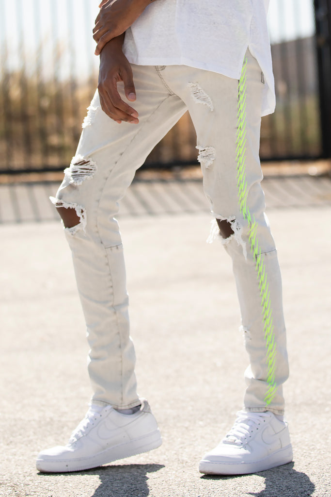Neon Embroidered Jeans (Light Grey/Lime)