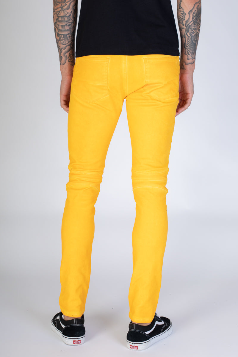Spray Washed Moto Skinny Jeans (Yellow)