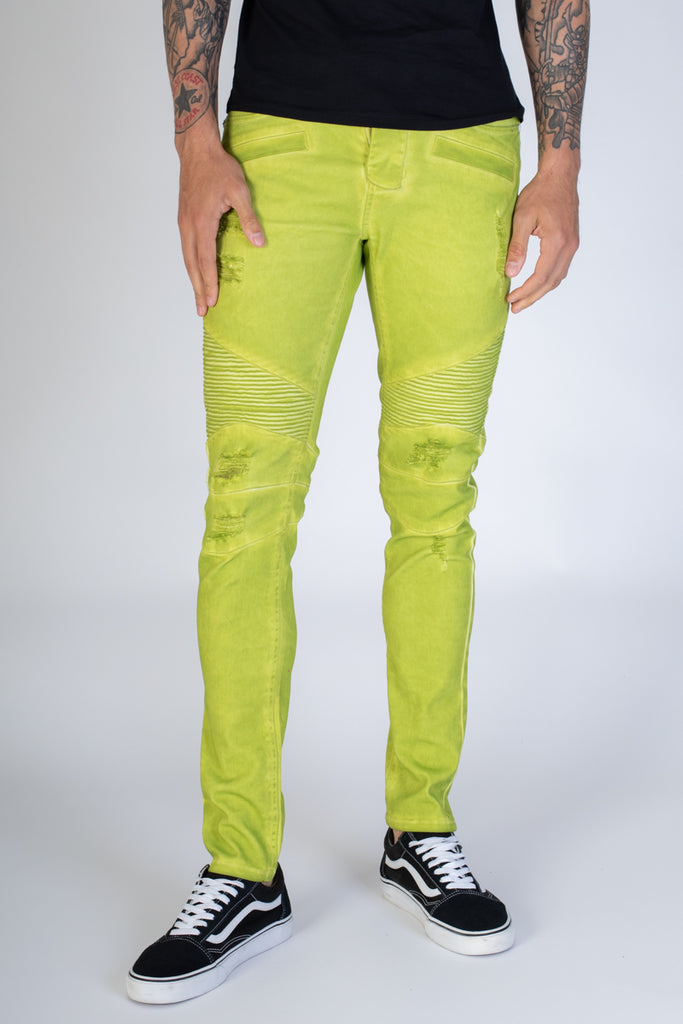 Spray Washed Moto Skinny Jeans (Lime)
