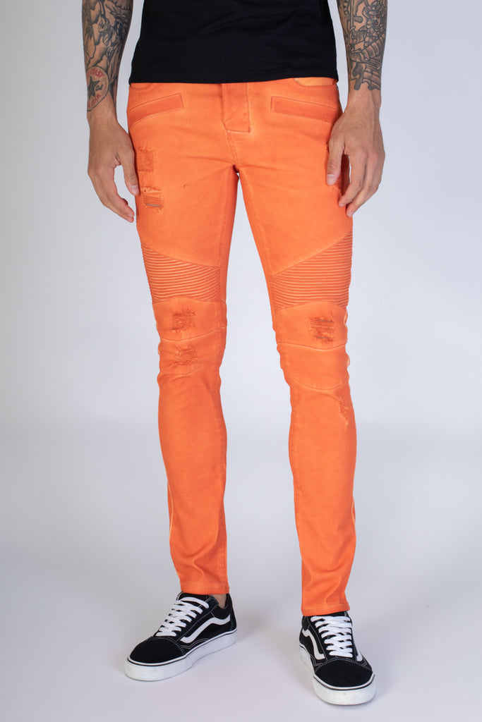 Spray Washed Moto Skinny Jeans (Orange)