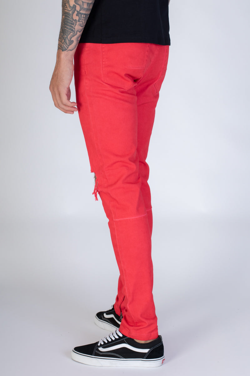 Colorful Ankle Zip Pants (Red)