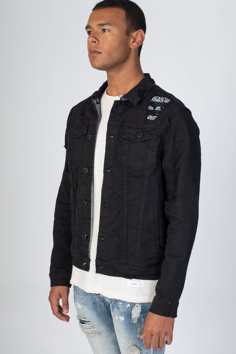Paisley Patch Trucker Jacket (Black)