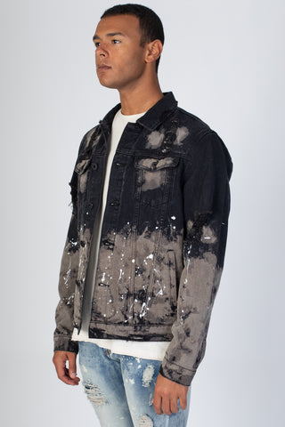 Painter's Distressed Denim Jacket (Black)