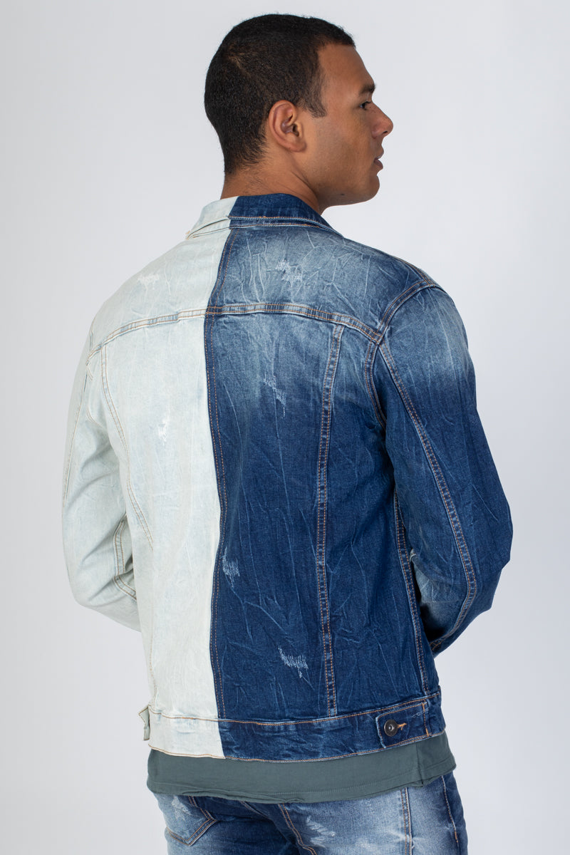 Contrast Denim Jacket (Blue)
