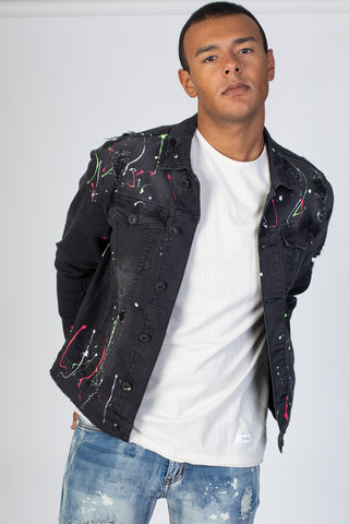 Destroyed Denim Jacket with Multi-Paint Splash (Dark Medium Gray)