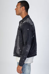 Bandana Patch Denim Jacket (Dark Medium Gray)