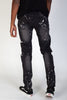 Ripped Paisley Patch Jeans With Paint Splatter (Dark Medium Gray)
