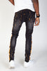 Print Stripe Jeans w/ Paint Splatter (Dark Medium Gray)
