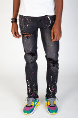 Neon Paint Splatter Jeans (Dark Medium Gray)