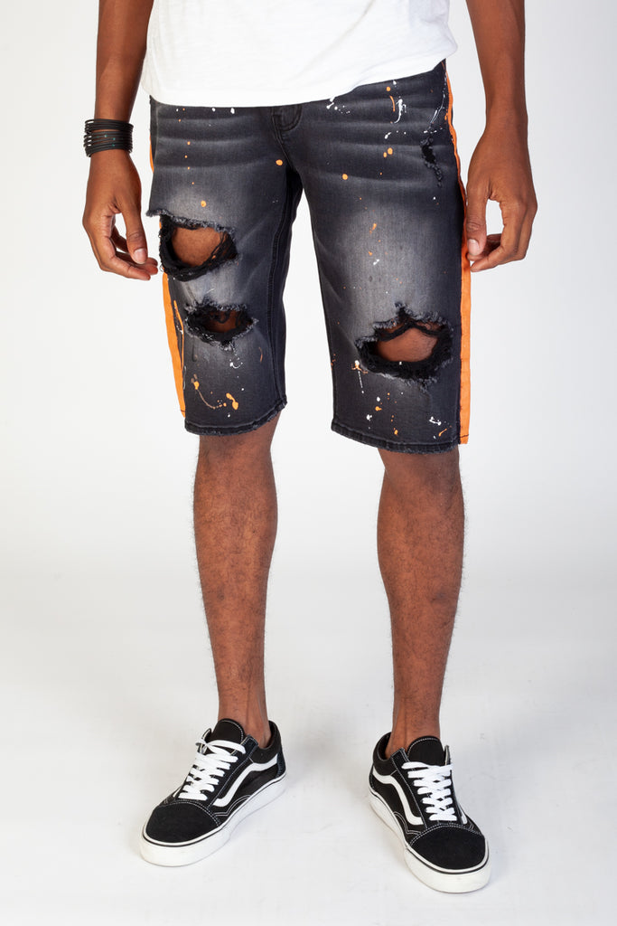 Paint Striped Shorts With Paint Splatter (Dark Medium Gray)