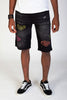 Rip & Repair Shorts With Neon Stitching (Black) - 50% OFF CLEARANCE