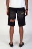 Rip & Repair Shorts With Neon Stitching (Black)