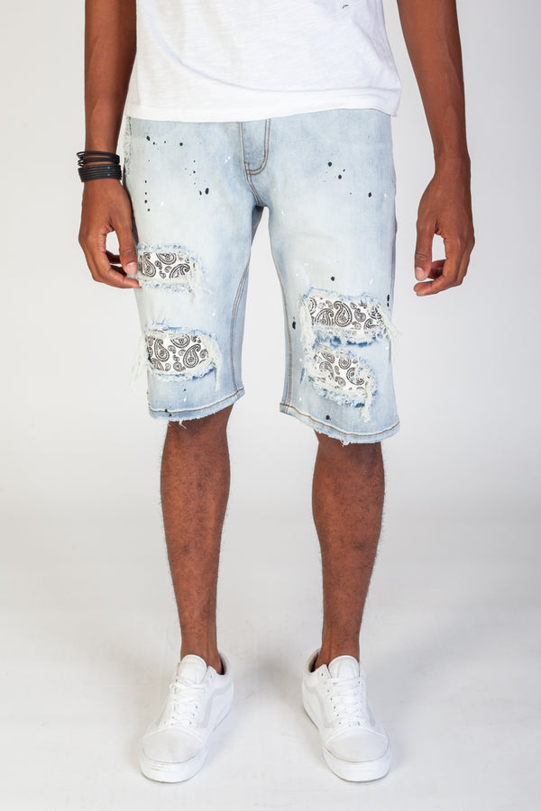 Paisley Patched Shorts (Blue)