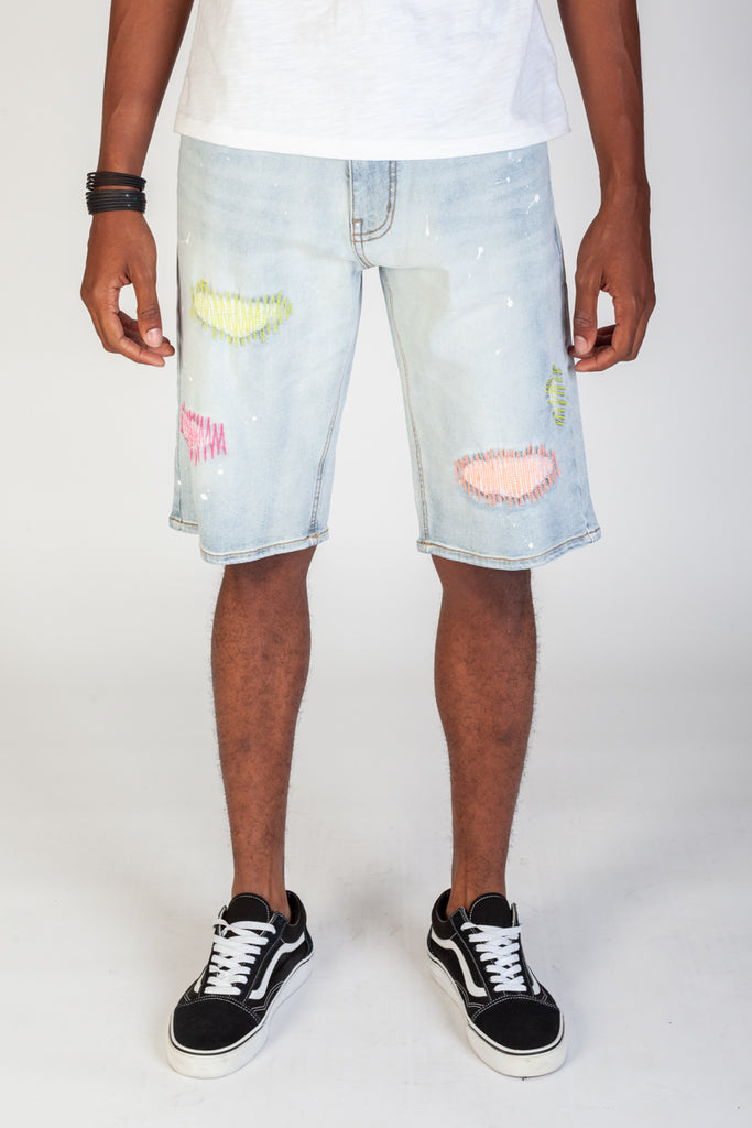Rip & Repair Shorts With Neon Stitching (Tinted Lite Blue)