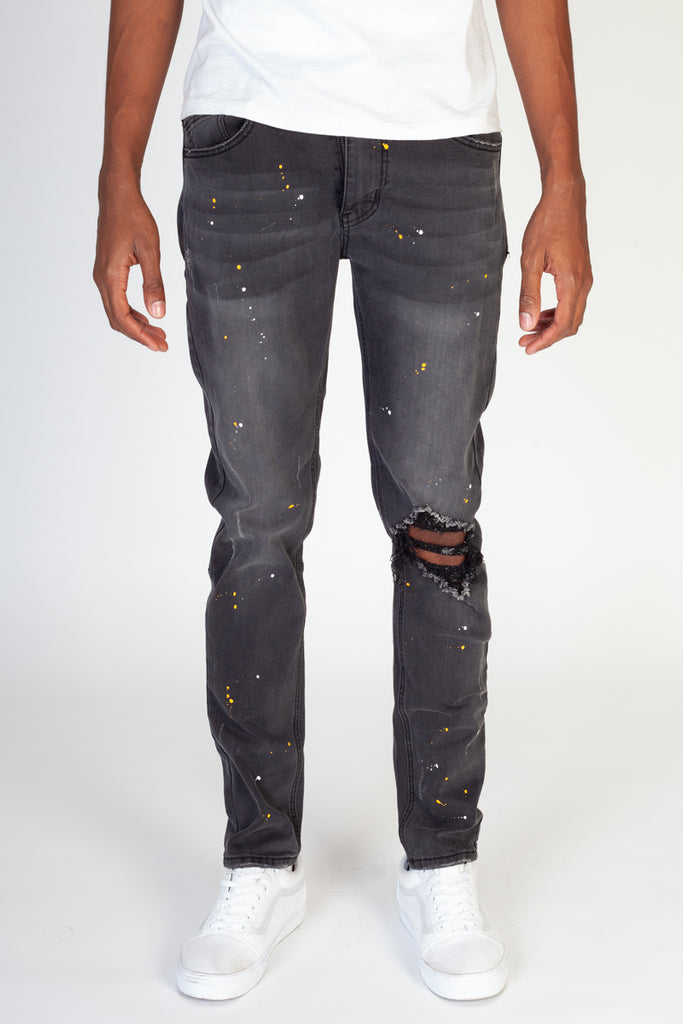 Paint Splashed Jeans (Dark Medium Gray)