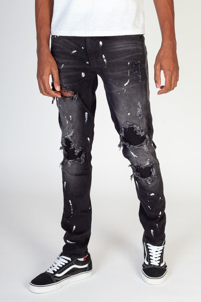 Pintuck Patched jeans (Dark Medium Grey)