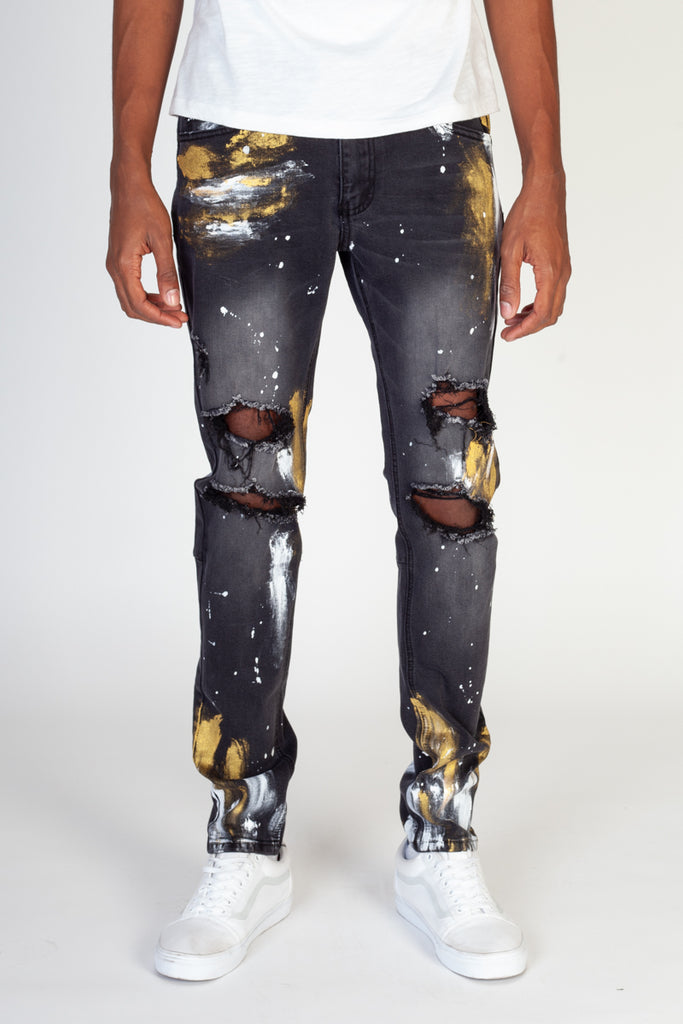 Ripped Jeans With Gold Paint Brush (Dark Medium Gray)
