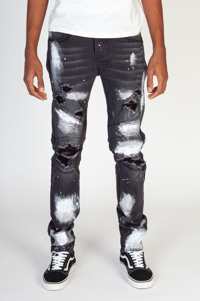 Moto Jeans With Metallic Silver Paint (Black)