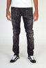 Ripped Moto Jeans With Multi-Paint Splatter (Dark Medium Gray)