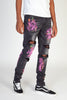 Skinny Jeans With Neon Multi-Paint Splatter (Dark Medium Gray)