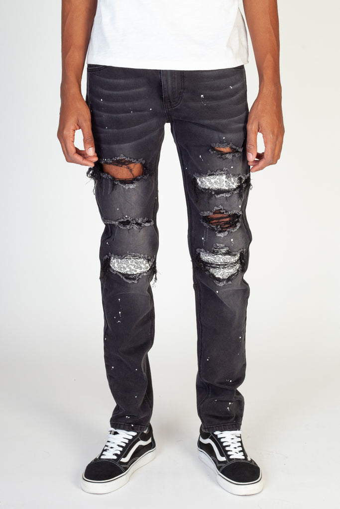 Pintucked Patched Skinny Jeans (Black)