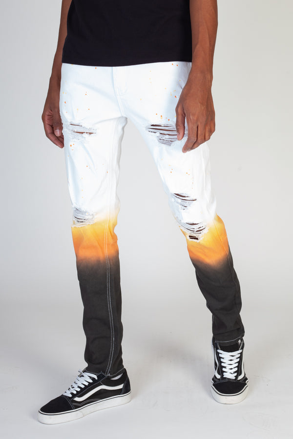 Dip Dyed Skinny Pants (White)