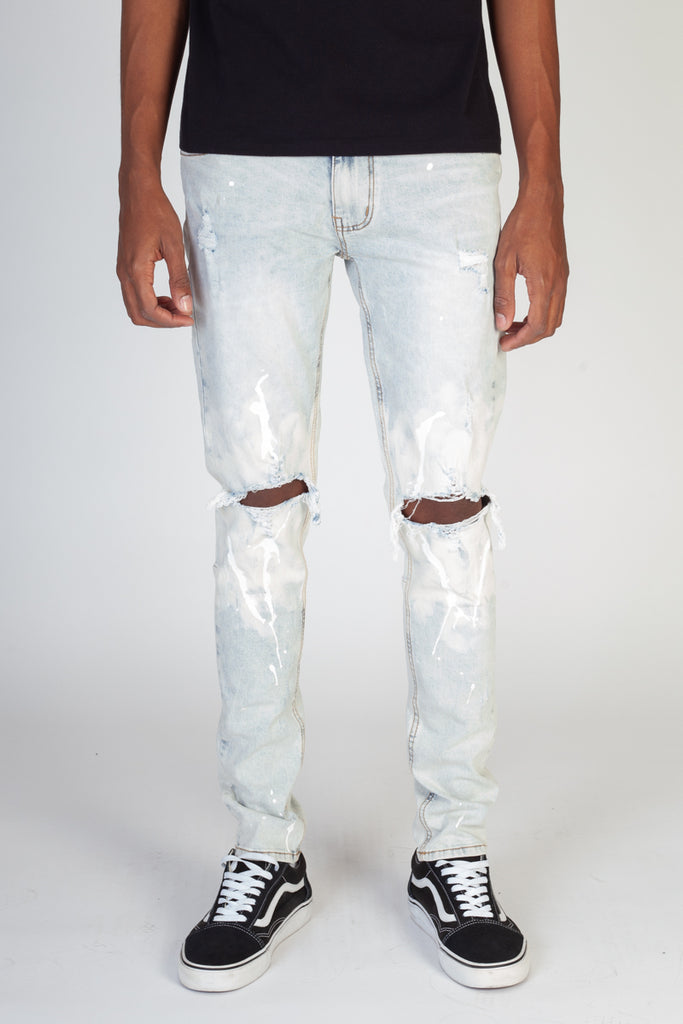 Painted Knee Skinny Jeans (Ice Blue)