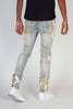 Ripped Jeans With Gold Paint Brush (Blue)
